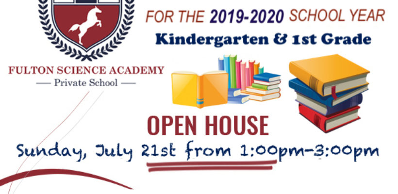 OPEN HOUSE FOR KINDERGARTEN & 1st GRADE!