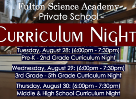 2018 – 2019 Curriculum Night