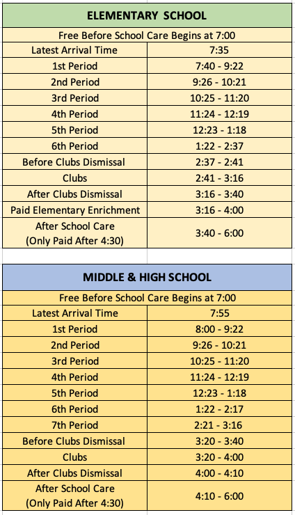 Bell Schedule - Fulton Science Academy Private School